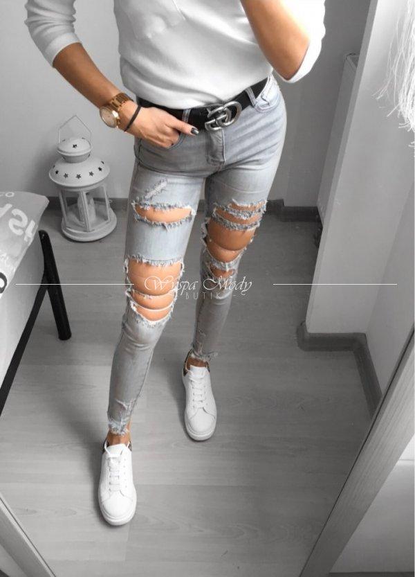 spodnie szare potargance
