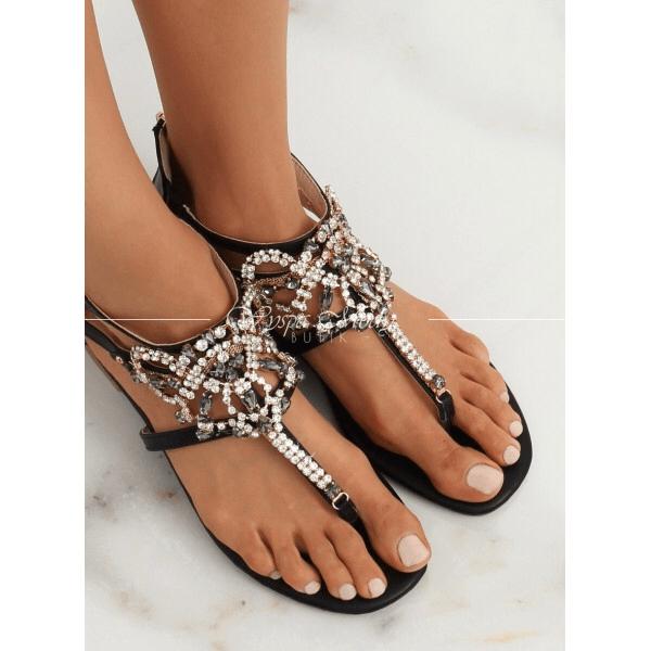 Sandałki cyrkonie Black