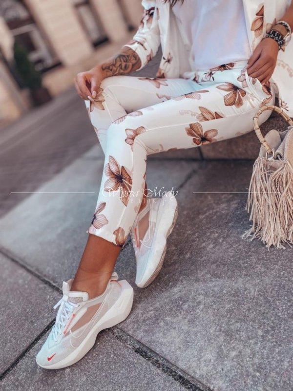 Spodnie flowers white