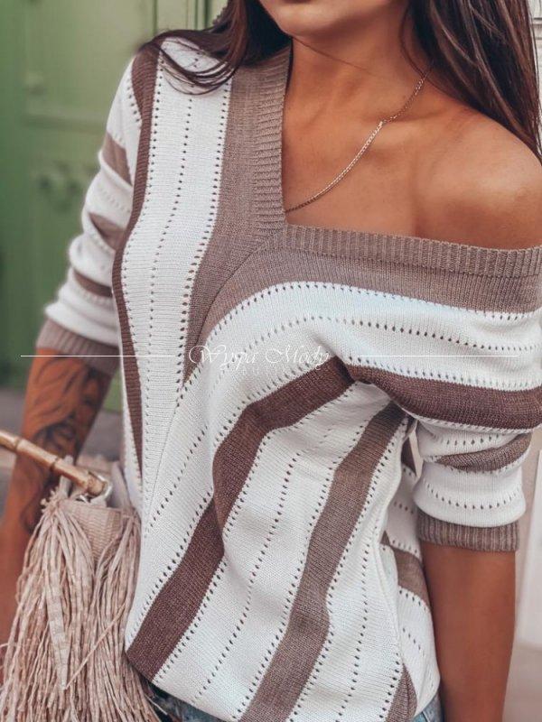 sweterek ażurkowy brown