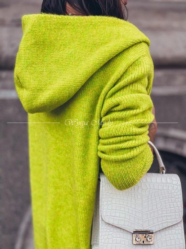 Sweter LONG limone włoska przędza