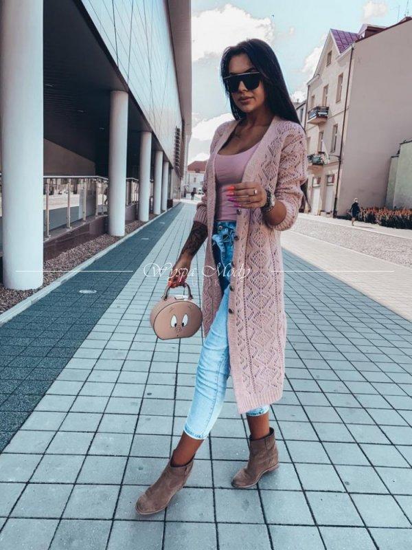 Kardigan azurkowy Pink LONG