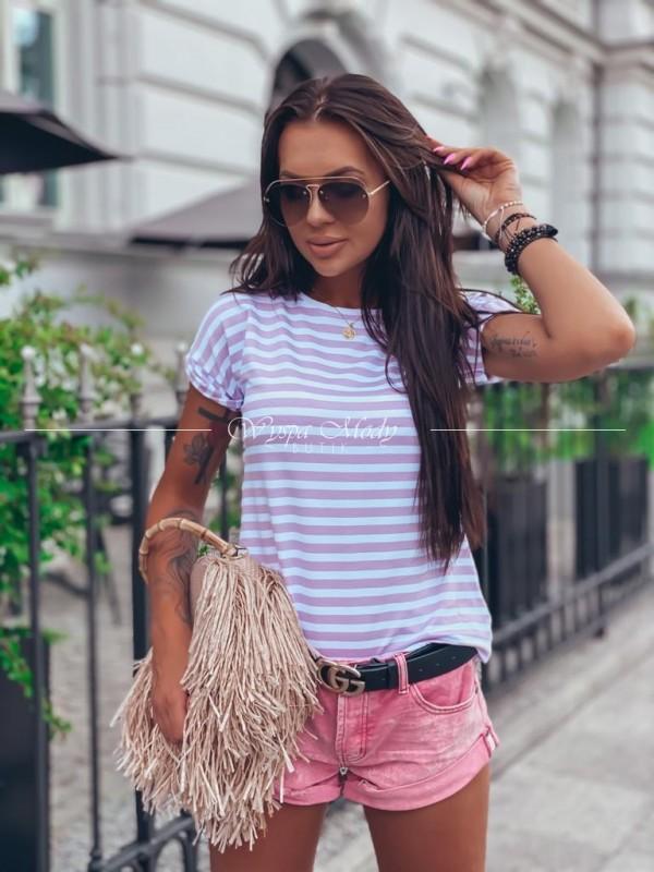 T shirt pasiak Pink