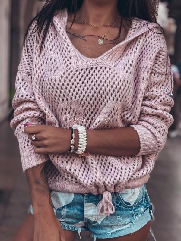 Sweterek kangurek ażurek Dirty Pink