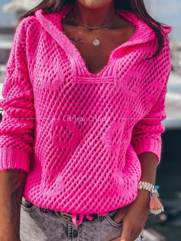 Sweterek kangurek pink neon