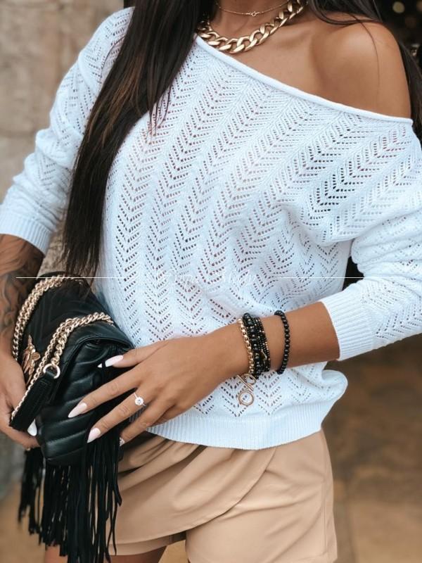 Sweterek ażurek white