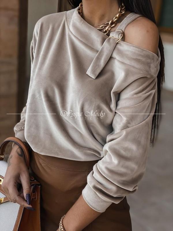Sweterek welurowy klamra beige
