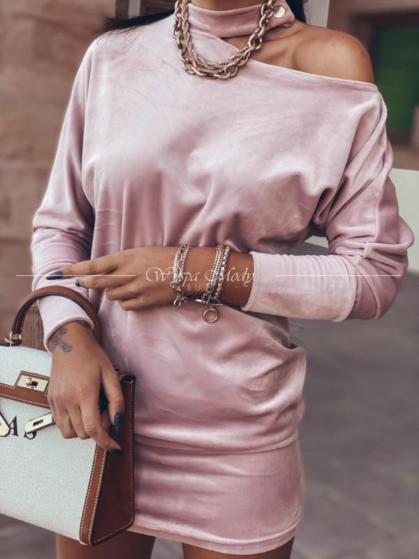 Sukienka welurowa hoker pink