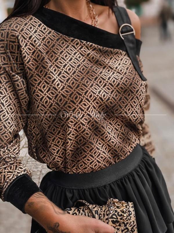 Sweterek welurowy klamra Brown