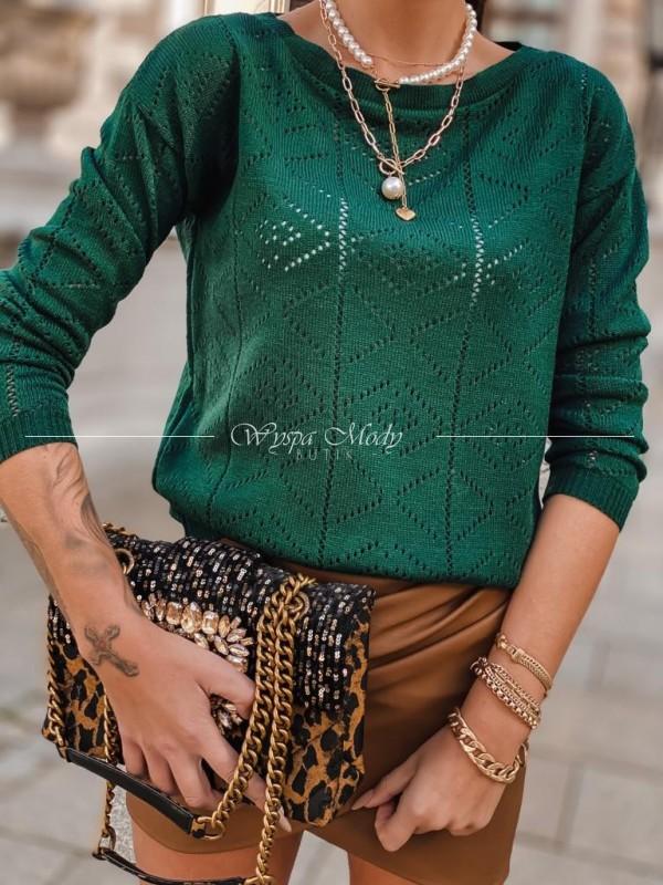 Sweterek ażurek khaki