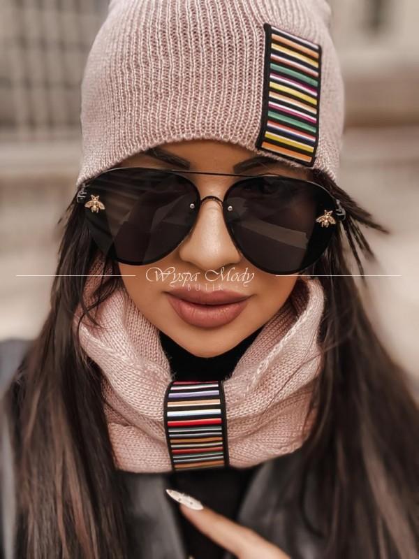 komplet komin+ czapka pink
