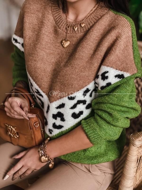 Sweterek monako camel&green