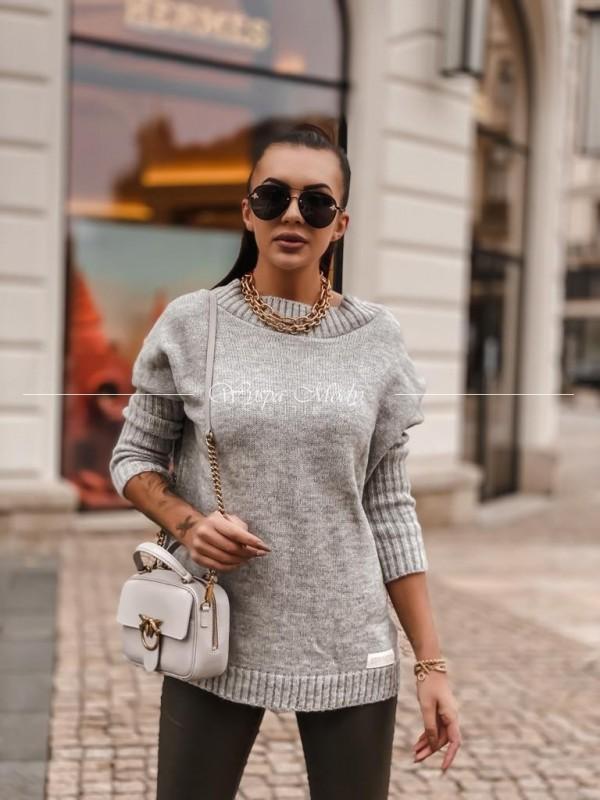Sweter włoska przędza grey