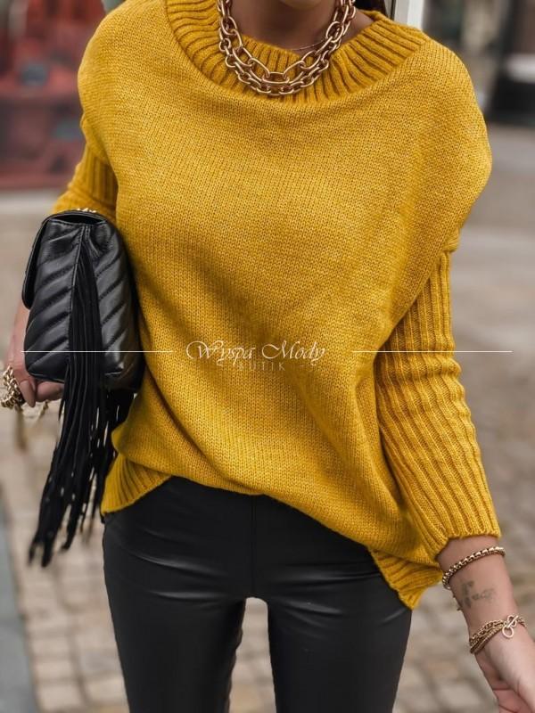 Sweter włoska przędza musztarda