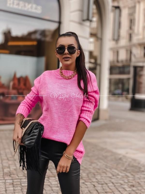 Sweter włoska przędza neon pink