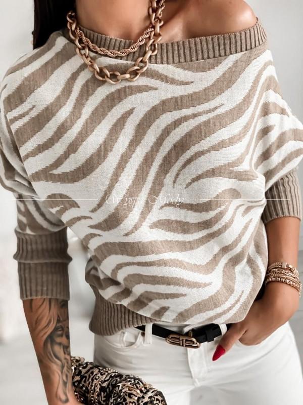 sweterek zebra beige&white