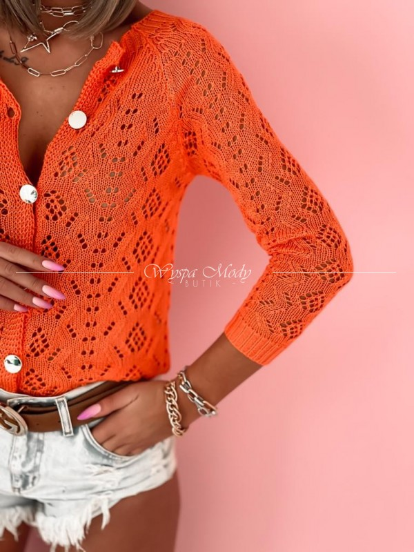 Sweterek ażurek miami orange
