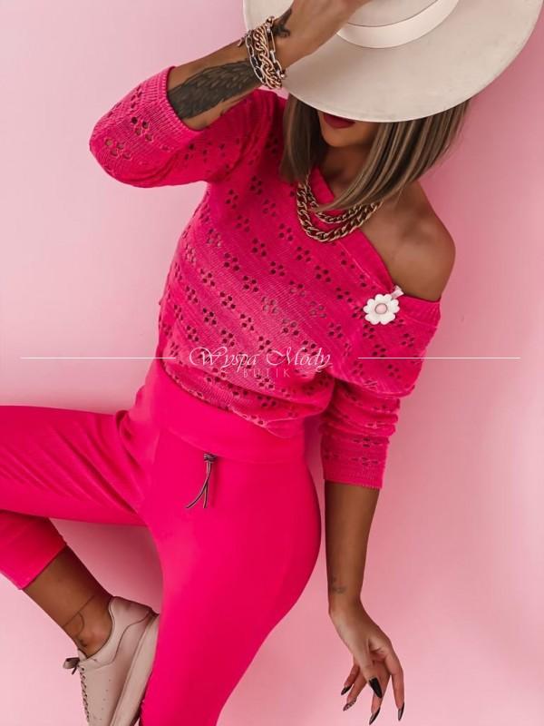 Sweterek ażur neon pink