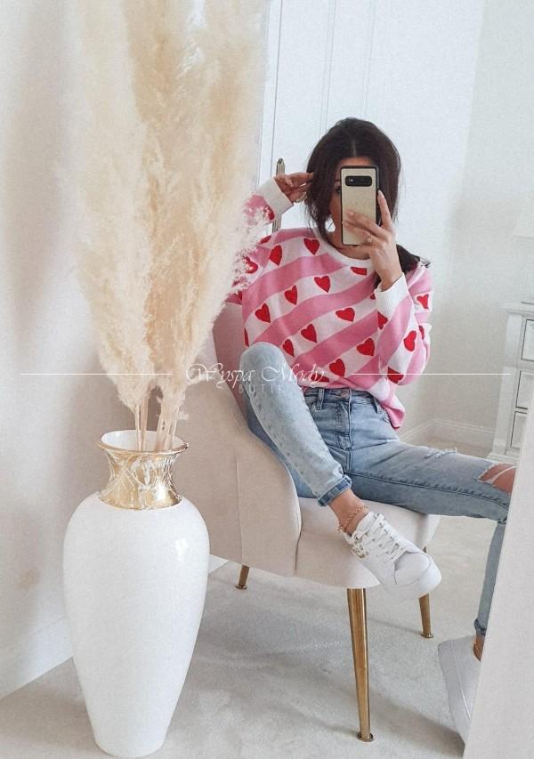Sweterek Serduszka milano pink