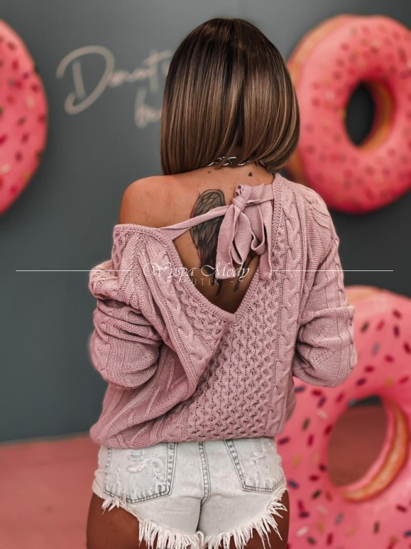 Sweterek Warkocz Dirty pink