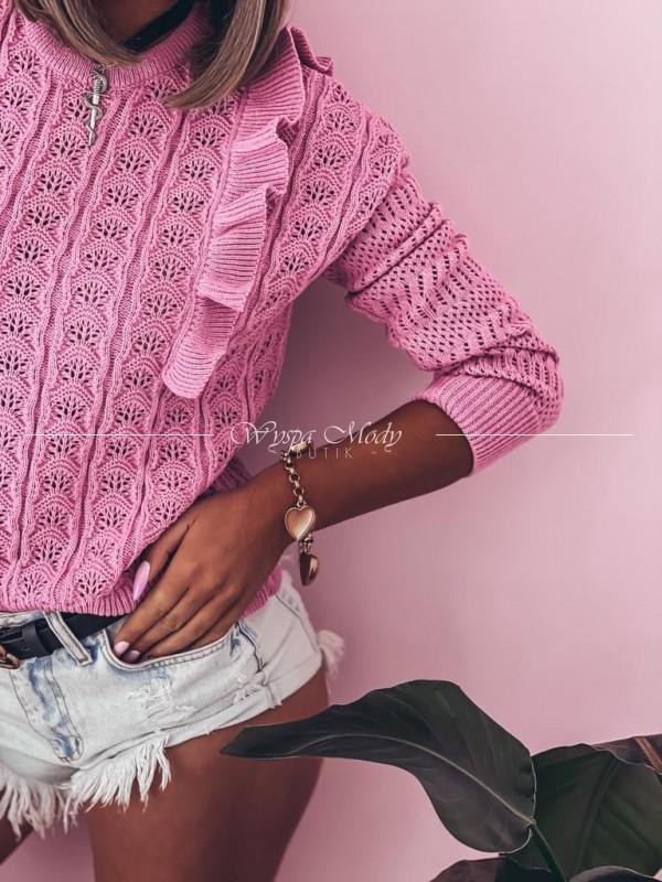 Sweterek ażurek nella pink