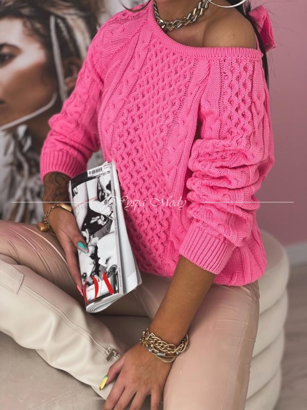 Sweterek warkocz NEON PINK