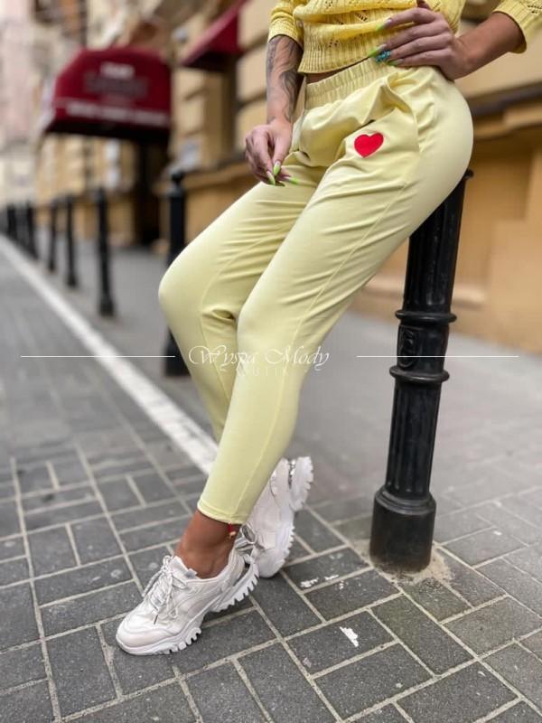 Spodnie serduszko yellow