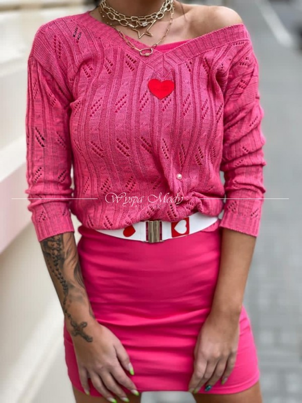 Sweterek ażurek heart pink