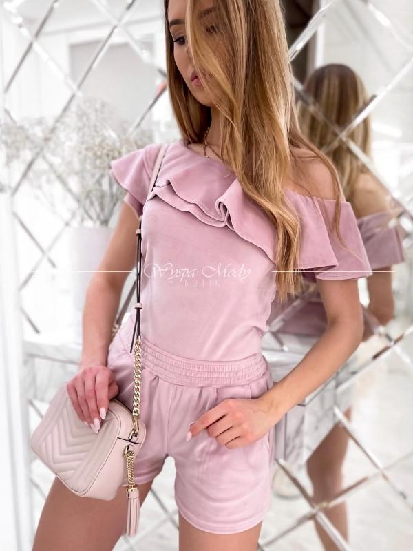 Komplet welurowy spodenki+ bluzka dirty pink