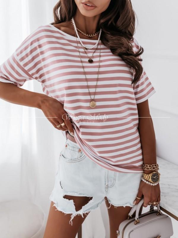 Tshirt w paski pink