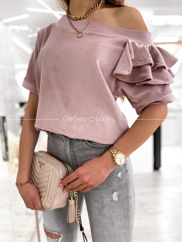 sweterek falbanka dirty pink