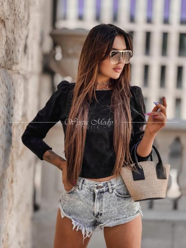 Koronkowa koszula kokarda black