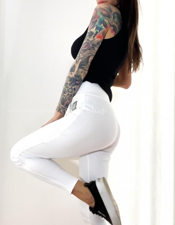 Spodnie prązek laki white