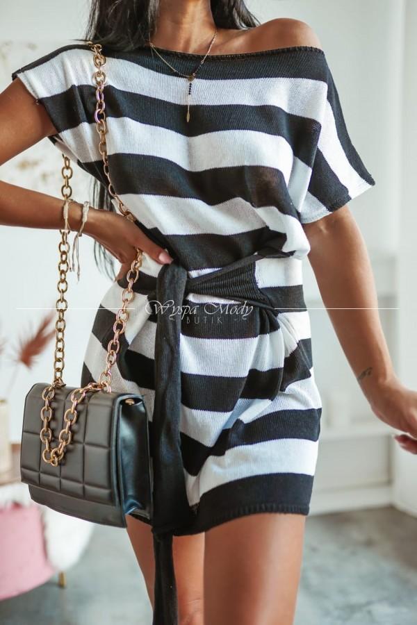 Sukienka w paski wiazana black
