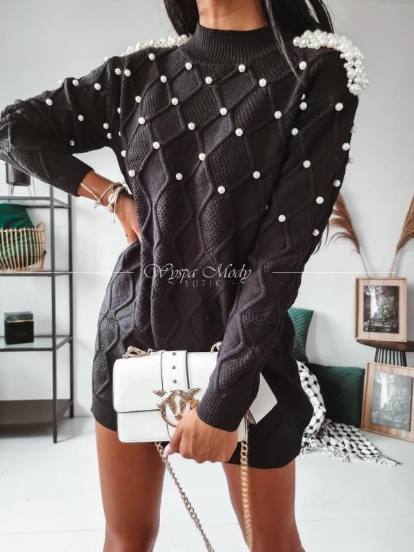 Sweterek long pearl black