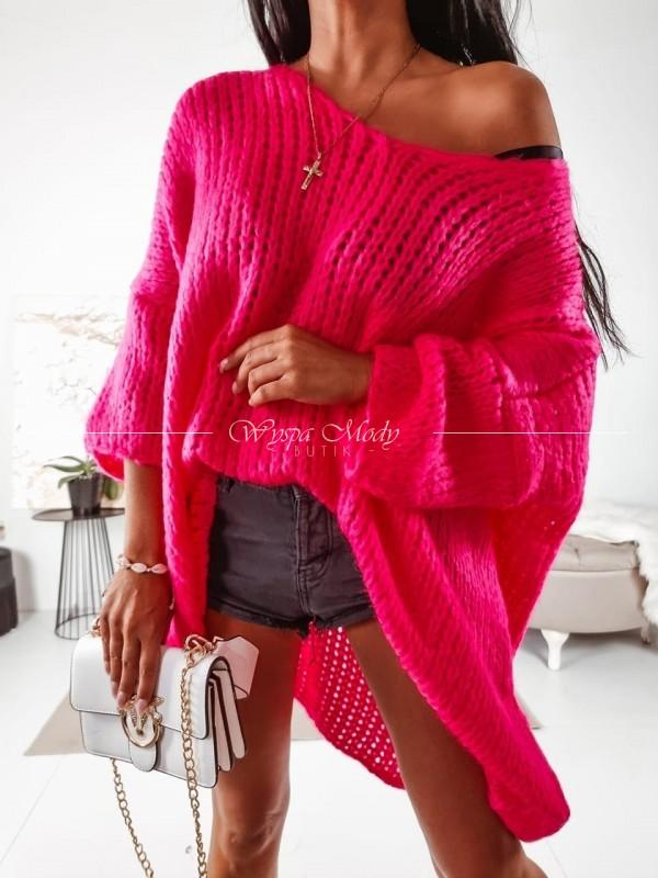 Sweterek Long Fuksja
