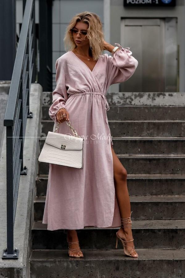 Sukienka maxi muślin dirty pink