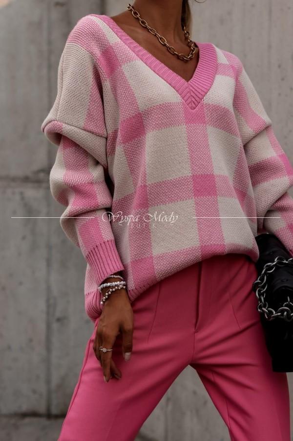 Sweterek v neck pink