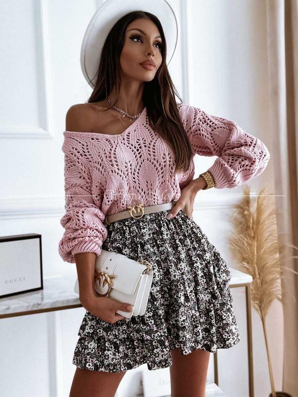Ażurowy sweter pink Malezja