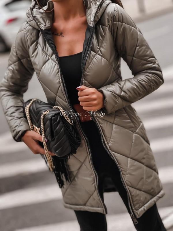 Płaszcz exlusive khaki pikowany