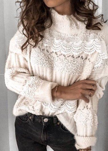 Sweter glamour white koronka