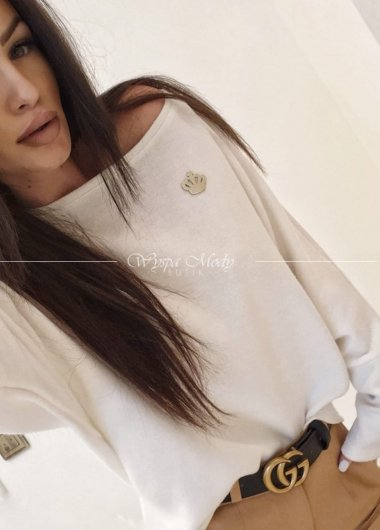 Sweter oversize modo white