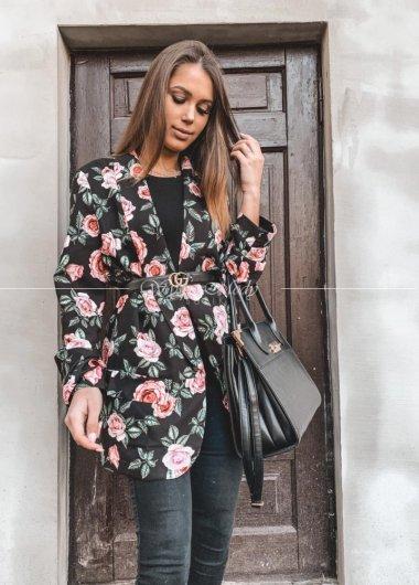 Marynarka flowers black