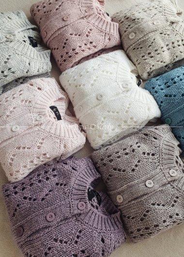 Sweterek ażurowy lazur