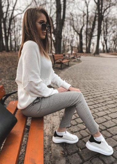 Spodnie cygaretki krata