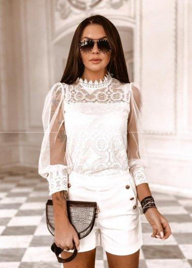 Koszula Rennes koronka white