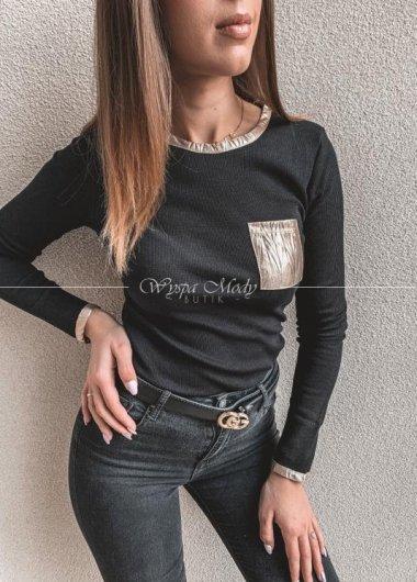 Bluzka prążek black & Gold