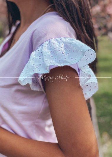 Bluzeczka liliowa koronka