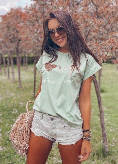 T shirt love mint