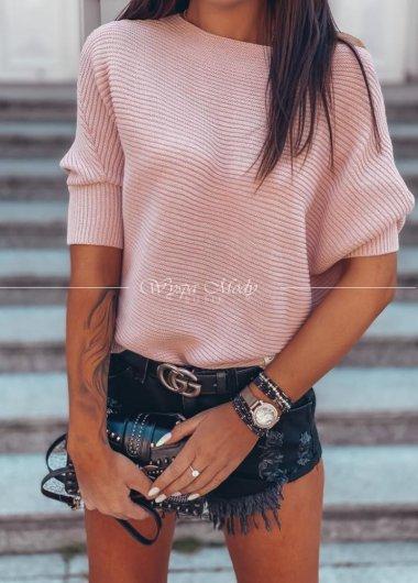 Sweter asymetryczny Dirty Pink